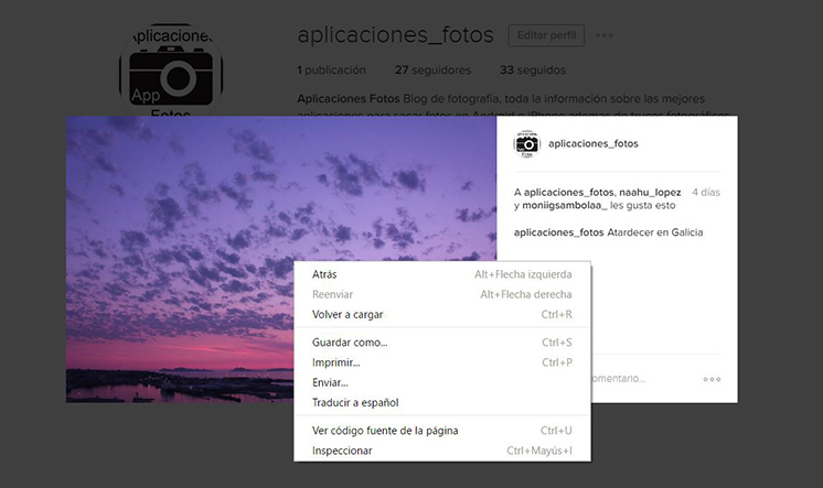 Descargar fotos de Instagram a tu PC
