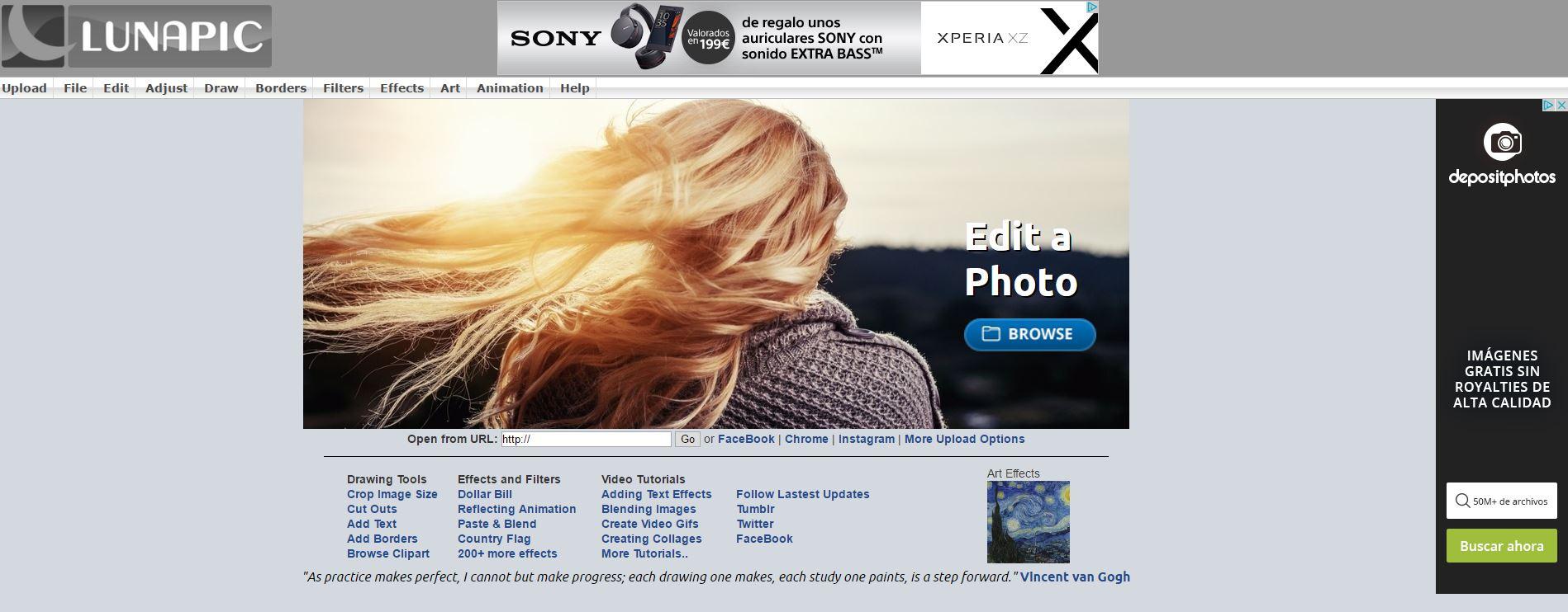 LunaPic - Editor gratuito Online de fotografías