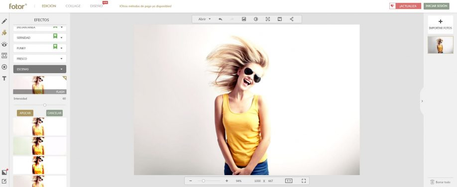 Modo edición de imágenes de Fotor